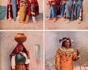 Chart of Native American Peoples  Ute Shoshone Isleta Pueblo Ojibwa Chippewa 1911 Print