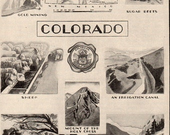 Colorado  Art Deco Style Map and Illustration of Industry Agriculture Farming 1930s