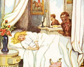 The Water Babies Tom and the Most Beautiful Girl Sleeping 1928 Book Illustration Linley Sambourne 1885