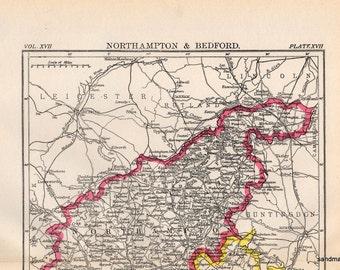 Original Antique Victorian 1897 Map of Northampton and Bedford United Kingdom