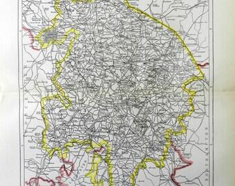 1897 Antique Color Map of  Warwick Warwickshire United Kingdom
