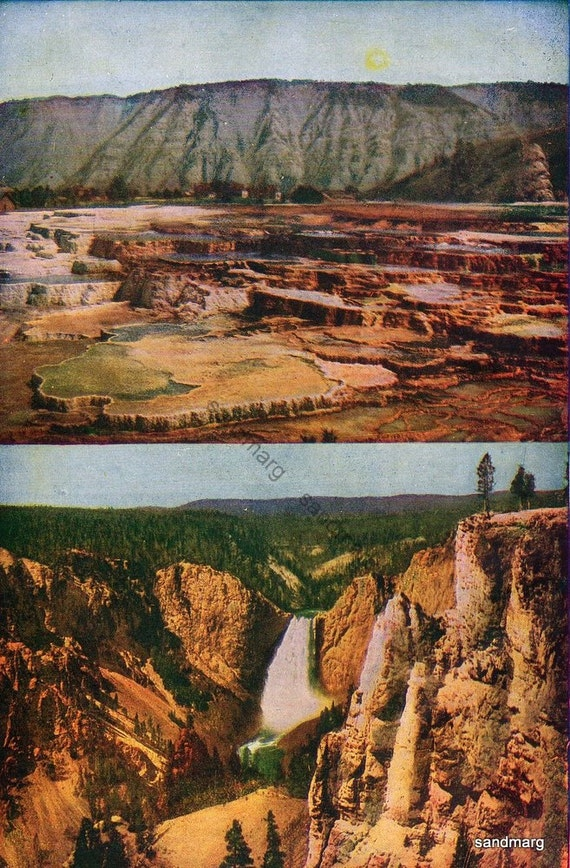 Vintage 1906 Hymen Terrace and Falls of Yellowstone Park Edwardian Chromolithograph