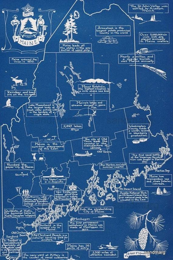 1944 Maine Cartograph Map