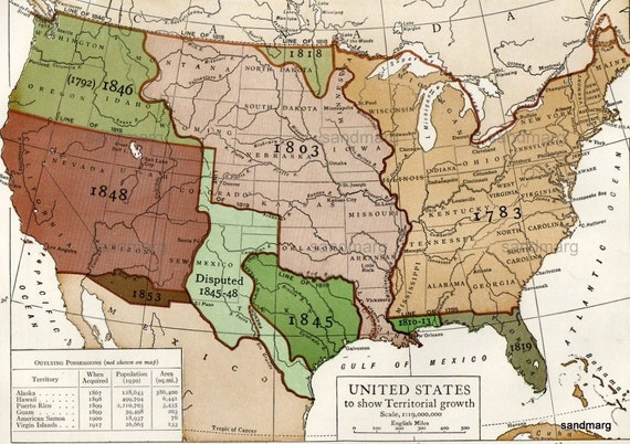 Vintage Map Of United States Territorial Growth 1783 To 1853