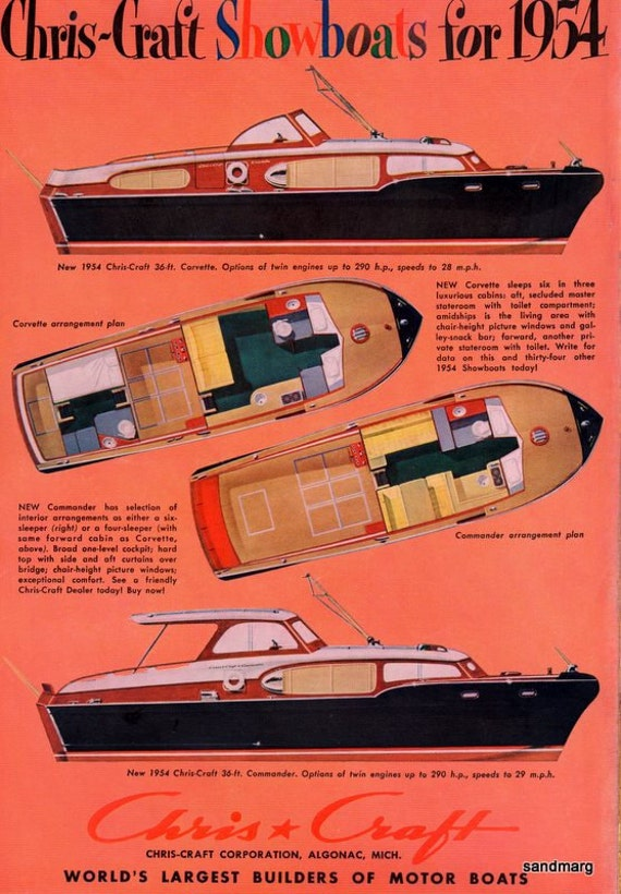 Vintage 1954 Chris Craft Commander and Corvette Boats Print Ad