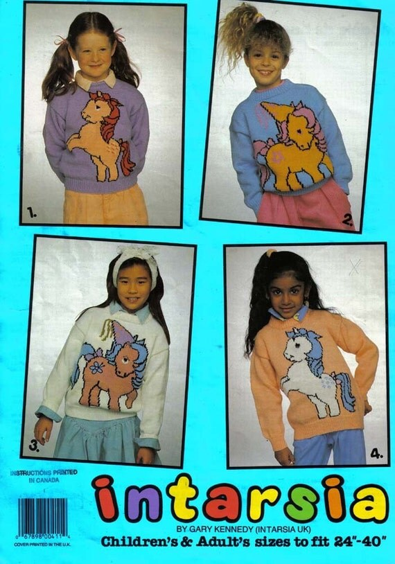 My Little Pony 4 Knitting Patterns by Gary Kennedy Intarsia  Children's and Adult's sizes to fit 24 - 40 inches