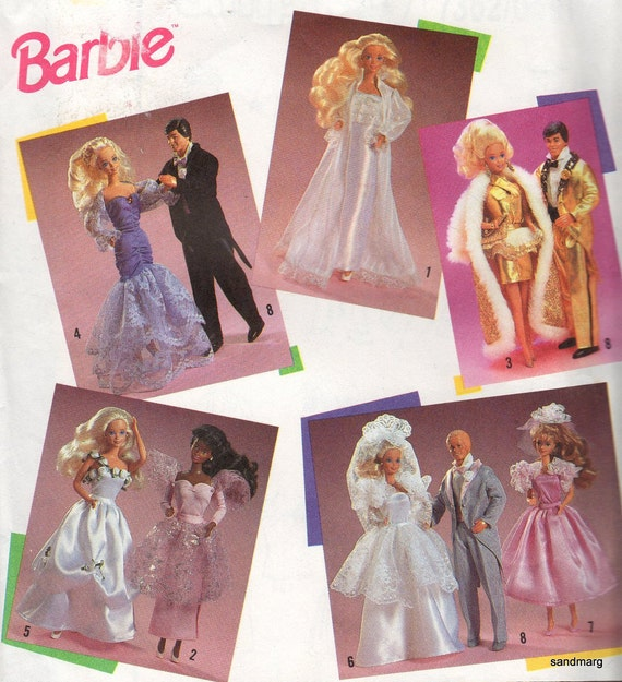Vintage Simplicity 7362 Barbie and Ken Glamour Clothes Wedding Tuxedo Ballgown Sewing Pattern Uncut