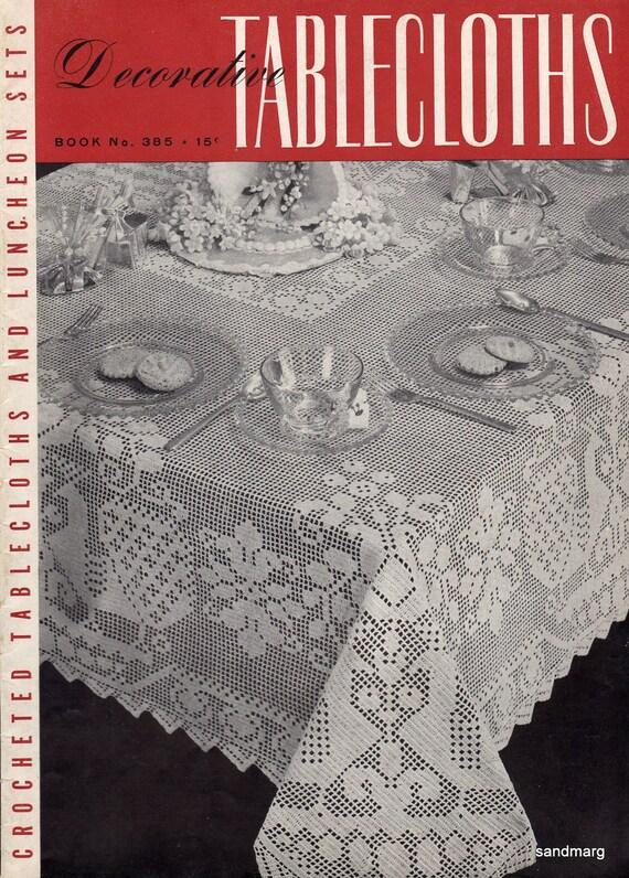 Decorative Tablecloths Book No 3385 Filet Crochet Lace Vintage 1943