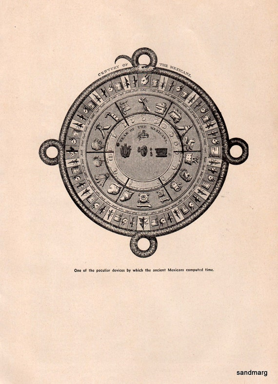 1924 Print of a  Circular Disc Representing the Mexican Century