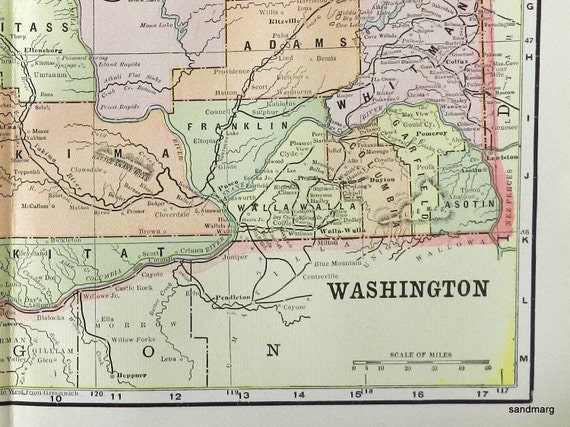 1897 Antique Color Map of the State of Washington