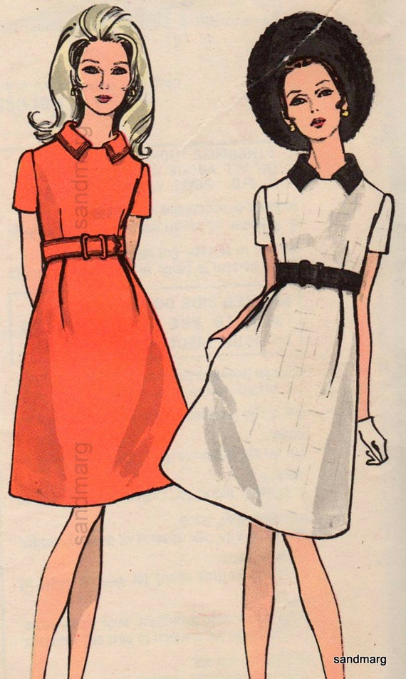 Vintage Vogue 7455 High Waisted Dress with Collar Easy to Make Sewing Pattern Size 12