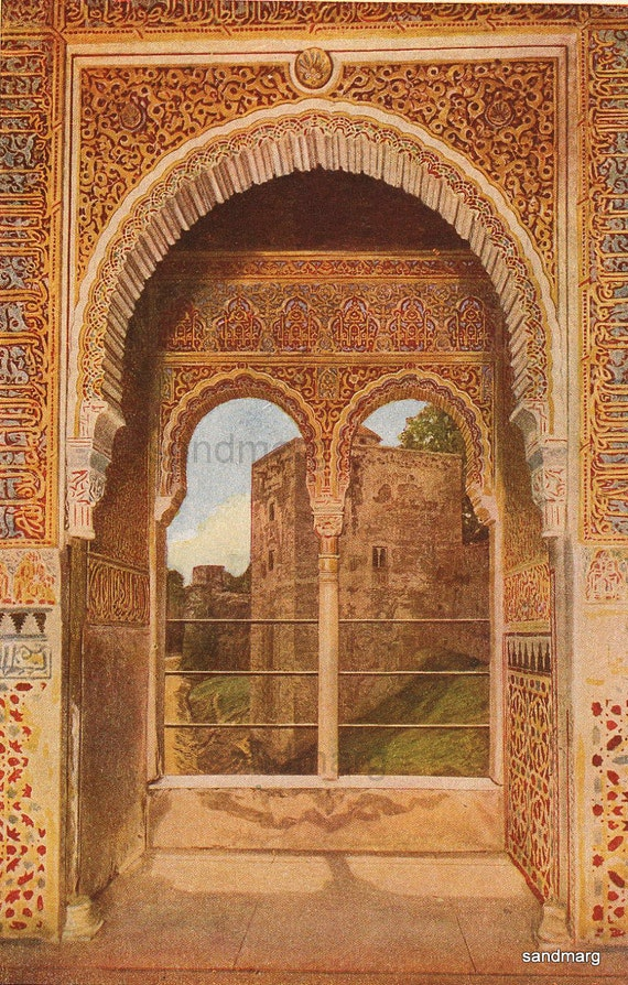 1907 Edwardian Print Captives Tower Window View Alhambra Granada Spain Architecture for Framing