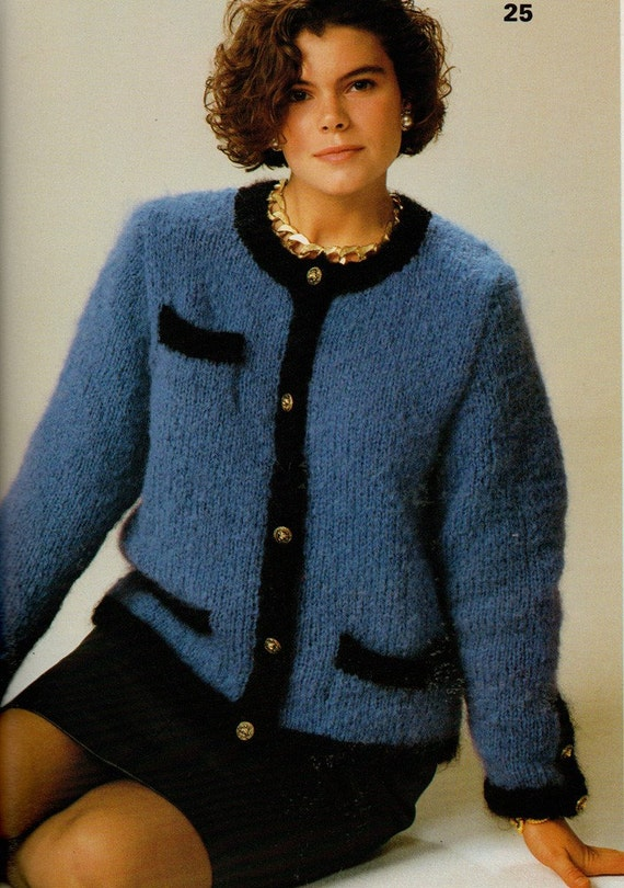 Knitting Pattern Chanel Style Jacket : Vintage Phildar Easy Knits Quick Knit Chanel-style Jacket