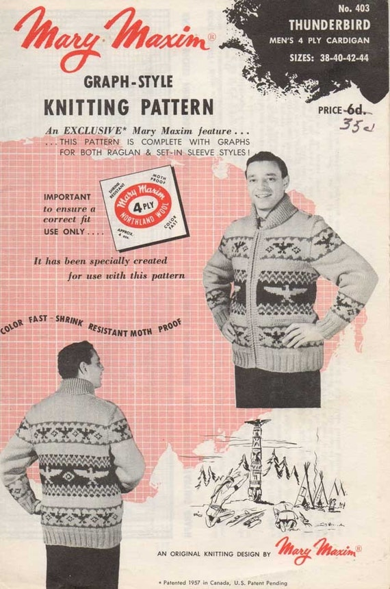 Vintage 1950s Mary Maxim Graph Style Knitting by sandmarg