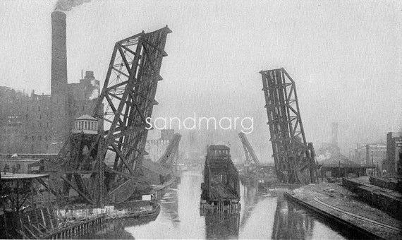 1902 Chicago Bascule Railroad Bridge Taylor Street Photogravure Print to Frame