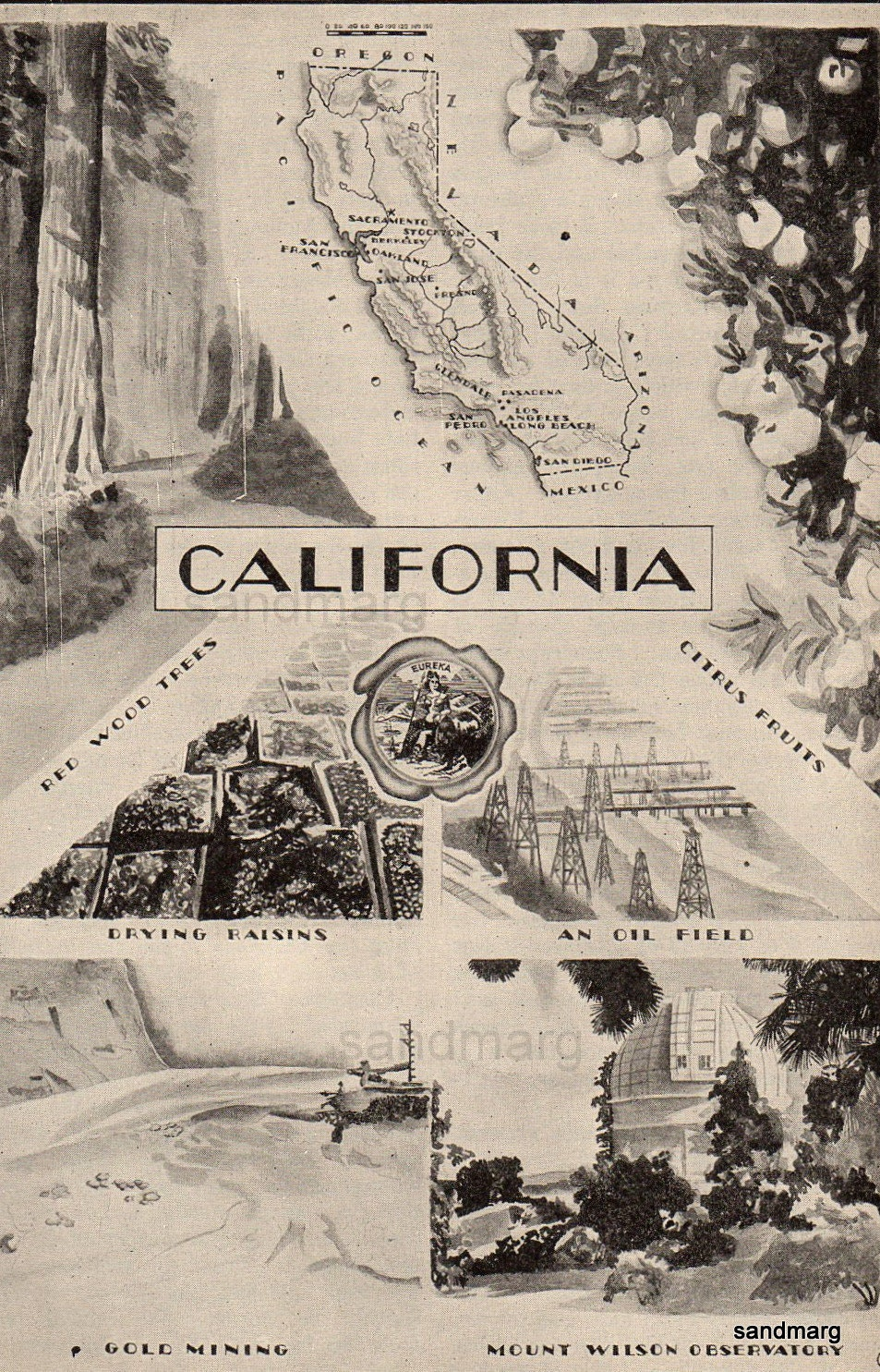 California Art Deco Style Map And Illustration Of Industry