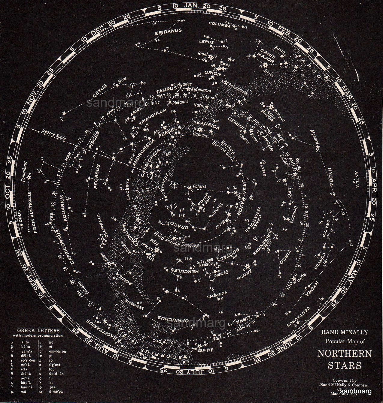 1932 rand mcnally star chart of the northern stars