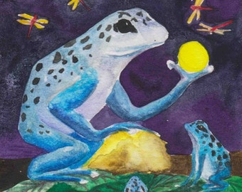 Blue Dart Frog Tarot Art 22 Cards Limited Edition Print by Beth Seilonen
