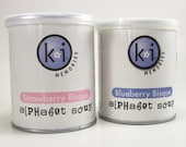 KI Memories Alphabet Soup Acrylic Letters 2 Cans Strawberry Bisque Light Pink and Blueberry Bisque Purple