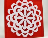Red Glass Decorative Tile With Flower Design