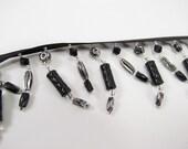 Black and Silver Acrylic Beaded Trim Fringe