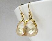 Harmonious Emma, Gold (Swarovski crystal briolette vine earrings)