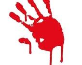 Bloody Handprint - gory horror vinyl decal