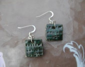 Square pottery earrings in a Malachite glaze