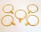 Fifty Round Earring or Pendant Gold Plated Beading Hoops
