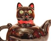 vintage black cat teapot
