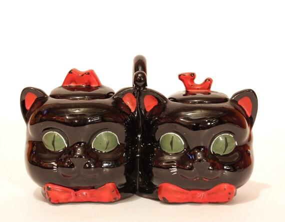 vintage double black cat jam pot