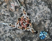 Celtic in Silver Chainmaille and lampwork necklace