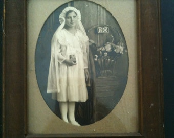 1936 vintage ANTIQUE framed cabinet photo - first communion or confirmation