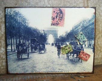 vintage inspired Old Paris Postcard Magnet Board