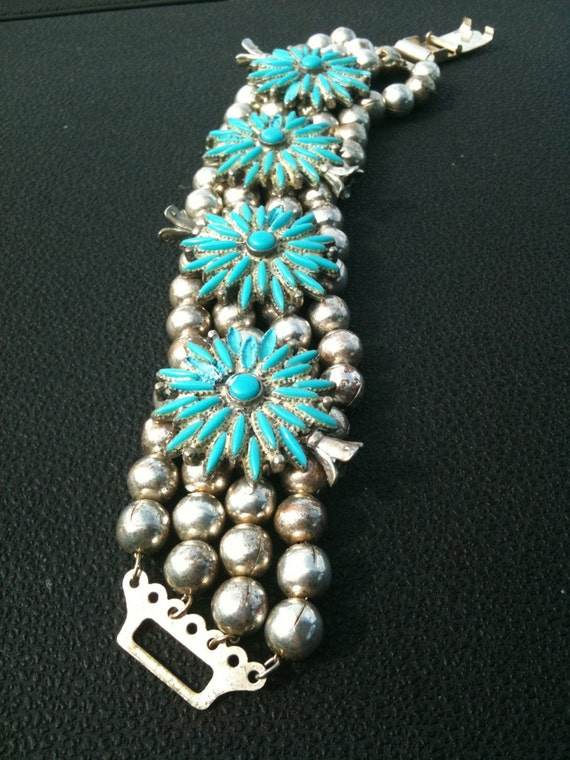 sale -1940s vintage silver and turquoise bracelet