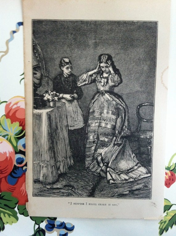 Oh, My- what to do- repro of vintage antique print- steel engraving