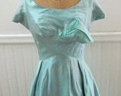 Vintage 50s Robin's Egg Blue Party Dress S