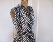1960s MOD Black and White Chevron Striped Dress - vintage op art - size medium