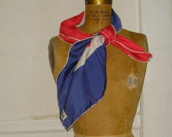 Super MOD vintage Red, White, and Blue Geometric VERA Silk Scarf - sailor chic, preppy, Vera Ladybug, 1960s, sixties