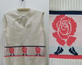 vintage White, Navy & Carnation Pink Rose Sweater Set - with a Sweet Keyhole Tank and a Short Sleeved Cardigan - size large