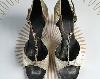 SALE size 7-7.5, Vintage GOLD and RHINESTONE T Strap Dancing Shoes