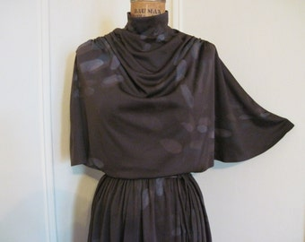 vintage 80s Brown Stone Flutter Secretary Dress -size large to extra large, l/xl