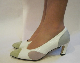 size 6.5, vintage 1980s White Leather Pumps with Pastel Oval Suede Cut Outs