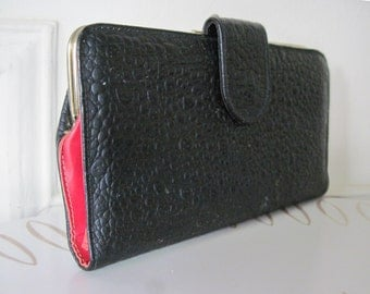 vintage 60s Black and Red Pebble Wallet by Baronet