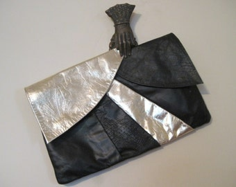 1980s Black and Metallic Gold Leather Envelope Clutch - OVERSIZED vintage purse