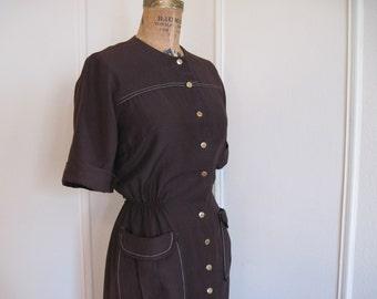 vintage 1950s Brown Button Up Day Dress - size medium, m