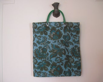 vintage 60s Turquoise and Green TAPESTRY Tote Bag with super MOD handles