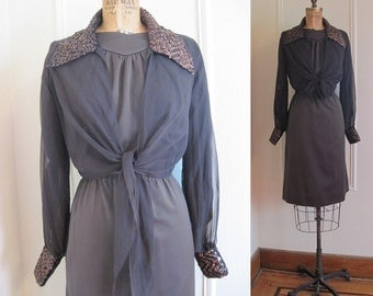 60s MOD Chocolate Brown vintage Party Dress with Metallic & Sequined Cocktail Jacket, l/xl