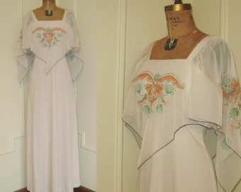 Vintage 70s FLUTTERING Maxi Dress with a 30s Flair S