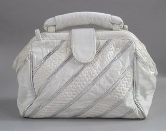 Vintage 80s White Leather and Silver Stripe Purse, retro doctors bag